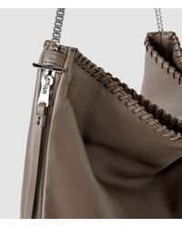 AllSaints - Gray Fleur De Lis Chain Shoulder Bag - Lyst