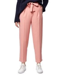 TOPSHOP - Pink Crepe Peg Trousers - Lyst