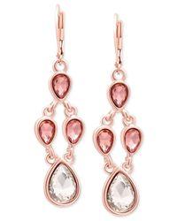 Tahari - Metallic T Rose Gold-tone Crystal Chandelier Earrings - Lyst