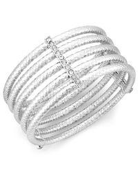 INC International Concepts - Metallic Silver-tone Crystal Multi-row Stretch Bracelet - Lyst