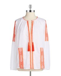 MICHAEL Michael Kors | White Embroidered Peasant Top | Lyst