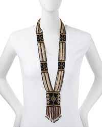 Nakamol - Diamondpattern Beaded Fringe Necklace Blackgold - Lyst