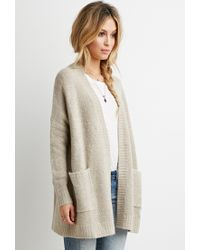 Lyst - Forever 21 Fuzzy Oversized Cardigan in Natural 4d9c12592