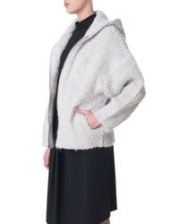 Tibi - Natural Boucle Cozy Hooded Cardigan - Lyst