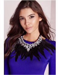 Missguided | Multicolor Statement Feather Necklace | Lyst