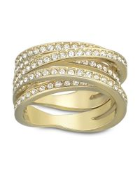 Swarovski | Metallic Spiral Goldtone Crystallized Ring | Lyst