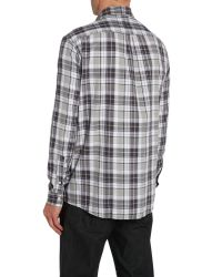 Armani Jeans | Gray Classic Fit Button Down Check Shirt for Men | Lyst
