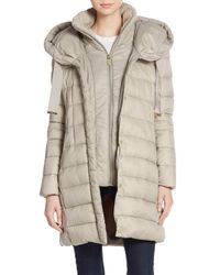 Tahari | Natural Olivia Knit-collar Puffer Coat | Lyst