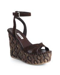 Miu Miu - Brown Suede Wooden Wedge Sandals - Lyst