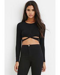 Forever 21 - Black Cutout Crop Top - Lyst