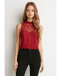 Forever 21 | Embroidered Mesh Sweetheart Top | Lyst
