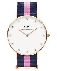 Daniel Wellington | Blue 'classy Winchester' Crystal Index Nato Strap Watch | Lyst