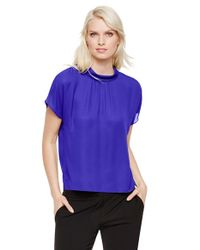 Vince Camuto | Blue Stand Collar Short Sleeve Blouse | Lyst