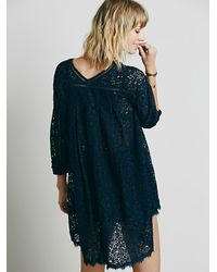 Free People | Blue Full Moon Lace Tunic | Lyst
