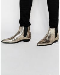 ASOS | Chelsea Boots In Metallic Gold for Men | Lyst