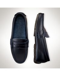 Ralph Lauren | Blue Leather Telly Penny Loafer | Lyst
