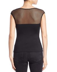 Guess | Black Mesh-accented Top | Lyst