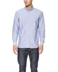 Maison Kitsuné - Blue Tricolor Fox Shirt for Men - Lyst