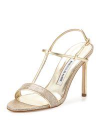 6ebe6cc02888 Lyst - Manolo Blahnik Metallic T-Bar Sandals in Natural