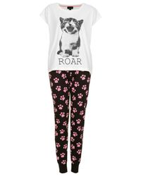 TOPSHOP | White Cat Print Pyjama Set | Lyst