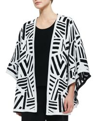 Misook - Black Graphic Reversible Cape Cardigan - Lyst
