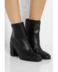 Alexander McQueen - Black Studded Leather Ankle Boots - Lyst