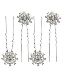 John Lewis | White Faux Pearl And Cubic Zirconia Wheel Hair Pins | Lyst
