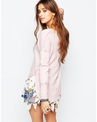 Free People | Westeros Washed Pink Sweater | Lyst