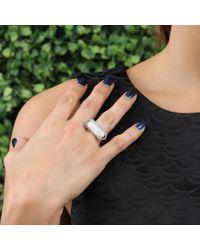 Jemma Wynne - Metallic Bar Ring With Emerald Cut Moonstone - Lyst