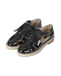 TOPSHOP - Womens Kendra Patent Fringed Shoes Black - Lyst