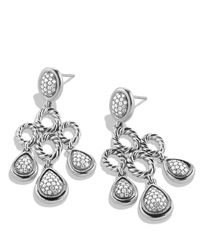 David Yurman - Metallic Sculpted Cable Chandelier Earrings With Diamonds - Lyst