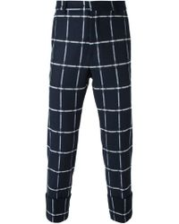 MSGM - Blue Checked Trousers - Lyst