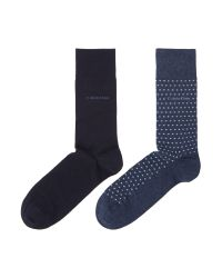 Calvin Klein | Blue 2 Pack Spot And Plain Flat Knit Socks for Men | Lyst