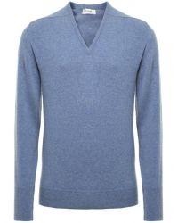 Jules B - Blue Cashmere V-neck Sweater for Men - Lyst