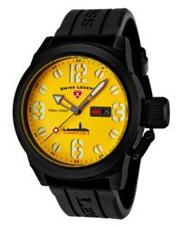 Swiss Legend - Submersible Black Silicone Yellow Dial Black Ip Steel Case for Men - Lyst