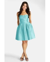 Donna Morgan | Blue Seamed Shantung Fit & Flare Dress | Lyst