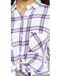 Rails - Britt Button Down Shirt - Pink/marine - Lyst