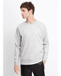 Vince - Gray Flecked Luxe Knit Raglan Crew Neck Sweatshirt for Men - Lyst
