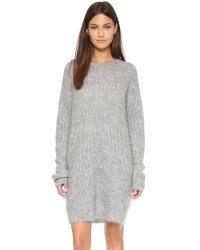 T By Alexander Wang | Gray Mohair Knit Tunic Dress - Heather Grey | Lyst
