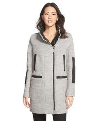 Vince Camuto Gray Faux Leather Trim Boucle Coat