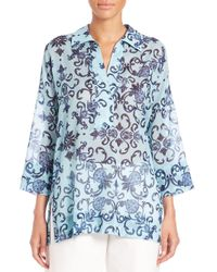 ESCADA | Brown Floral Tunic Blouse | Lyst