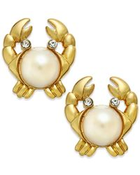 kate spade new york | Metallic 14k Gold-plated Imitation Pearl Crab Stud Earrings | Lyst