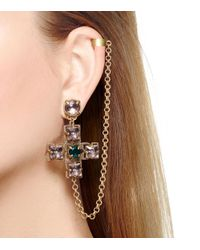 Tory Burch - Metallic Jeweled Drop Earring Cuff - Lyst