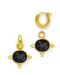 Elizabeth Locke - Black 19K Gold Grifo Venetian Glass Earring Pendants - Lyst