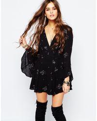Free People | Black Jasmine Embroidered Mini Dress With Fluted Sleeves | Lyst