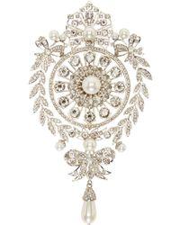 Givenchy - Metallic Silver Pearl And Rhinestone Brooch - Lyst