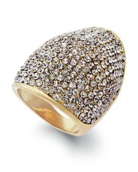 INC International Concepts - White Gold-tone Glass Stretch Ring - Lyst