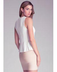 Bebe | White Embellished Peplum Top | Lyst