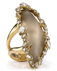 Alexis Bittar - Metallic Lucite Jagged Edge Crystal Framed Twotone Cocktail Ring - Lyst