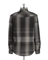 Guess   Gray Slim Fit Lazer Plaid Sportshirt for Men   Lyst
